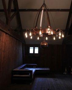 Copper Chandelier - 12 Branch - Arts And Crafts (vintage retro antique style) Retro Lighting, Art Deco Lighting, Antique Lighting, Modern Lighting, Lighting Design, Lighting Ideas, Georgian Kitchen, Branch Chandelier, Branch Art