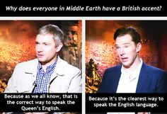Martin Freeman and Benedict Cumberbatch on the English language :) #thehobbit <-- I AGREE WITH BEN!! ALWAYS! <3