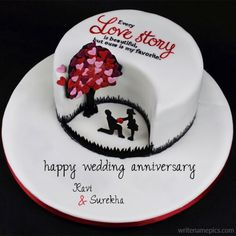 happy wedding anniversary card with name images free credit. happy wedding anniversary wishes online with couple name pictures free. online wishing happy wedding anniversary card wife. happy wedding anniversary wishes card Anniversary Cake Pictures, Marriage Anniversary Cake, Anniversary Cake Designs, Happy Wedding Anniversary Wishes, Happy Anniversary Cakes, 9th Anniversary, Cake Name Edit, Cupcakes Cool, Beautiful Cupcakes