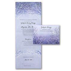 Shimmering Lights - Seal 'n Send on shimmer stock is stunning! Tear off postcard respond. We discount and ship free at Quaint Wedding Stationery.