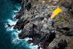 "One of Outside Magazine's ""Best Adventure Photos of - Paragliding over Portugal's Azores Islands. Jody MacDonald got this picture of her boyfriend while paragliding above him. Photography Guide, Adventure Photography, Outdoor Photography, Outside Magazine, Paragliding, All Nature, Azores, Birds Eye View, Outdoor Fun"