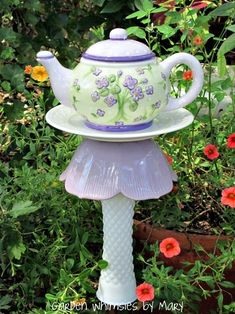 Teapot garden stake via gardenwhimsiesbymary by bookreader