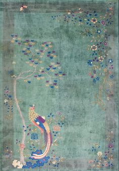 """A beautiful #peacock #design in our #antique #ArtDeco #Chinese #carpet: Rug #20890 Size: 12' 0"""" x 17' 6"""""""