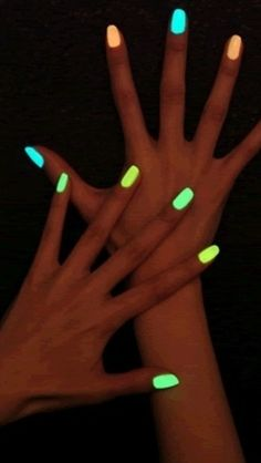 Break a glow stick and put it in clear nail polish, glow in the dark nails!!!!