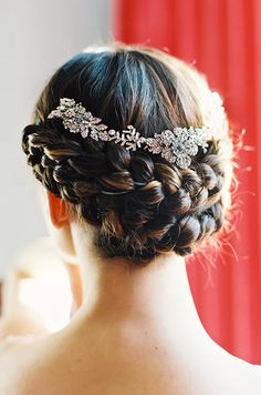 Braided updo with stunning headpiece. Enchanted Atelier by Liv Hart, Laura Gordon Photography
