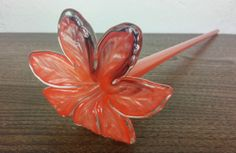 Retro Vintage Murano Hand Made Blowned Glass Flower Art Glass Sculpture Red