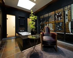 Black Venetian plaster walls for the bathroom. love. Interior by Anne Hauck Art Deco