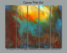 Large oversized wall art. Colors in this abstract canvas print set include shades of red, orange, yellow, brown, blue, turquoise, and green. Unique wall art for home or office decor by Denise Cunniff - ArtFromDenise.com. View more info at https://www.etsy.com/listing/281117822