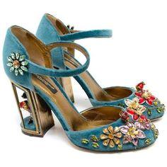 Dolce Gabbana Teal Embellished Velvet Cage-Heel Pumps ($1,215) ❤ liked on Polyvore featuring shoes, pumps, velvet pumps, mary jane pumps, maryjane pumps, teal shoes and embellished pumps
