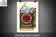 Lucky Strike - Cigarette Pack, original art print, vintage poster, Kitchen wall art, food and drink, fine art, travel poster, retro poster, by MadButGreatPosters on Etsy