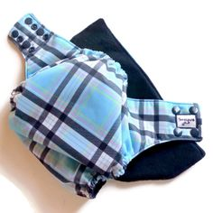 Blue #Plaid PUL One Size Cloth Diaper by Honeybuns