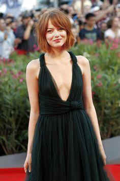 red choppy bob hairstyle - Emma Stone