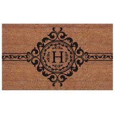 Momentum Mats Handmade Garbo Extra-thick Monogrammed Doormat (2' x 3'), Black