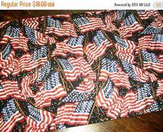 ON SALE Patriotic Table Runner American Flags Waving