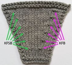 Knit-Front-Slip-Back A neater and easier alternative to the KFB increase. Knit-Front-Slip-Back A neater and easier alternative to the KFB increase. Always wanted to discover how to knit, but not. Knitting Increase, Knitting Help, Knitting Stiches, Knitting Needles, Knitting Yarn, Hand Knitting, Knit Stitches, Needlepoint Stitches, Needlework