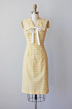 50s Dress Vintage 1950s Dress Mustard Yellow Gingham