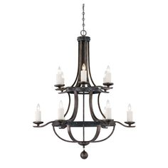 Alsace Reclaimed Wood Twelve Light Chandelier Savoy House Candles W/ 10+ Shades Chandelier