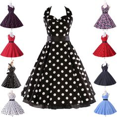 UK New Ladies Vtg 1950s style Polka Dot Print Rockabilly Cotton Swing Tea Dress | eBay