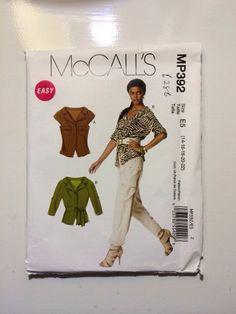 UNCUT PLUS SIZE McCall's M6286 Misses Blouse and Belt Sizes (14-16-18-20-22)