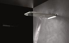 "Anti-lime showerhead of modern design Extra large 23.2x12.2"" (590x310 mm) shower head 2 jets: rainfall, cascade 5 Year Warranty"