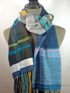 Willow // Handwoven Periwinkle, Classic Blue & Aqua Scarf // Woven Unisex Accessory // Bold Striped Scarf // Vibrant Blue and White Neckwear by pidgepidge on Etsy