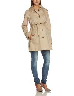 Mamalicious Laura Long Trenchcoat – Abrigo premamá de manga larga para mujer, talla 40, color beige (nomad)