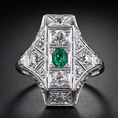 Art Deco Emerald and Diamond Dinner Ring - 30-1-5018 - Lang Antiques