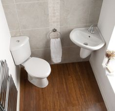 Corner cloakroom suite to fit a small space.