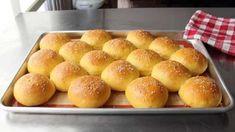 Sweet Potato Buns Video Homemade Hamburger Buns, Hamburger Bun Recipe, Homemade Hamburgers, Sweet Potato Dog Treats, Sweet Potato Buns, Sweet Potatoes For Dogs, Potato Bun Recipe, Chinese Steam Bun Recipe, Sweet Dinner Rolls