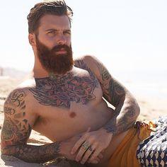 Levi Stocke at the beach - full thick red beard and mustache beards bearded man men shirtless tattoos tattooed chest auburn redhead ginger #beardsforever