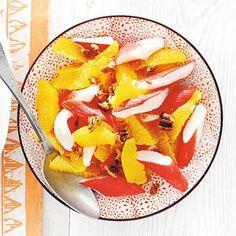 Orange, surimi sticks & pecans. Surimi Recipes, Endive Recipes, Coffe Recipes, Crohns Recipes, Jucing Recipes, Achiote, Gourmet Recipes, Healthy Recipes, Avocado Mousse