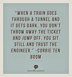when a train goes through a tunnel and it gets dark, you don't throw away the ticket and jump off.  You sit still and trust the engineer.   Corrie Ten Boom