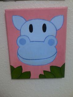 Happy Hippooriginal acrylic painting by maddierosedoodles on Etsy, $30.00