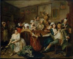 William Hogarth Rake's Progress, Scene 3 'Orgy' (1733)  - a young man blows a fortune on the delights of city life, above all gambling and whoring.