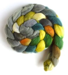 Organic Polwarth Roving - Handpainted Spinning or Felting Fiber, Leafing Out