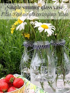 I've always wanted to try glass painting - so I made these for summer. Quick and simple DIY trick you can easily do 20 mins before your guests arrive. Charm them with your country cottage decor by painting glass jars. Step by step here:  http://www.lovewonderblog.com/painting-glass-jars-for-summer/