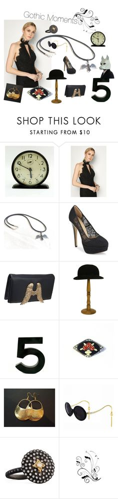 Gothic Moments by seasidecollectibles on Polyvore featuring Fame & Partners, Charlotte Olympia, Bernard Delettrez, Armenta, Chanel, Westclox and vintage