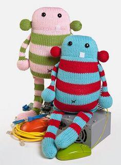 Ravelry: Cecil the Computer Monster pattern by Rebecca Danger Knitting Books, Knitting Yarn, Knitting Projects, Knitting Patterns, Sewing Projects, Knitted Dolls, Crochet Toys, Couch Monster, Felt Monster