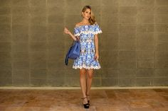 Marina Casemiro » Look: vestido floral azul + babados + renda!