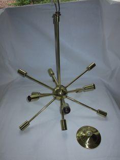 Original Lightolier Polished Brass Sputnik-style Chandelier, Designed by Gino…