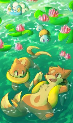 Water type's natural habitat. Floatzel, Buizel, Squirtle and Froakie.