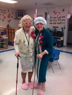 dressing up as 100 year old substitutes for the 100th day of school...too funny!    or introducing Gangsta Granny maybe??