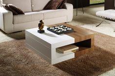 Mesa centro 900. Me gusta la combinación blanco/madera.