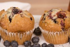 Make healthy blueberry muffins using this easy recipe with cottage cheese for extra protein and oats for texture.