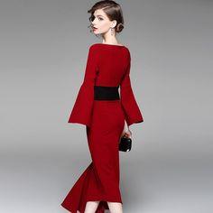 New irregular waist-tightening dress, red medium-length dress and dress for banquet dress in 2019 Dresses