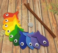 Rainbow Felt Magnetic Fishing Game, Kids Magnet Fishing Set, Eco friendly game for imaginative play, felt fish, rainbow fish by Helgamade on Etsy
