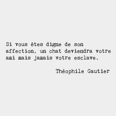 If you are worthy of its affection a cat will become your friend but never your slave.  Théophile Gautier French poet by frenchwords