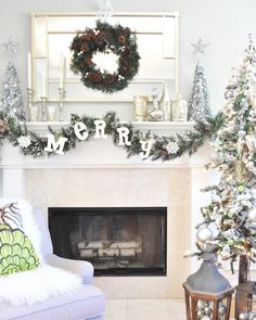 Hang a wreath over a mirror -- makes a great focal point! #holiday