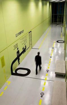 more floor graphics. Signage Display, Signage Design, Kiosk Design, Ui Design, Design Ideas, Environmental Graphic Design, Environmental Graphics, Bureau Open Space, Wayfinding Signs