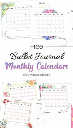 Bullet journal calendar layout - yearly and monthly bullet journal calendars #bujocalendar #calendar Bullet Journal Yearly Calendar, Calendar Notebook, Calendar Layout, Bullet Journal Hacks, Bullet Journal Printables, Free Printable Calendar, Printable Planner, Planner Stickers, Hand Lettering Practice